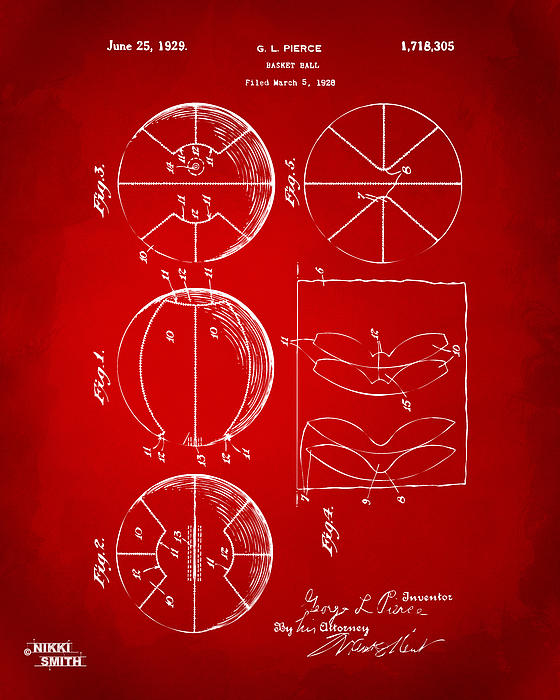 Basketball Drawing - 1929 Basketball Patent Artwork - Red by Nikki Marie Smith