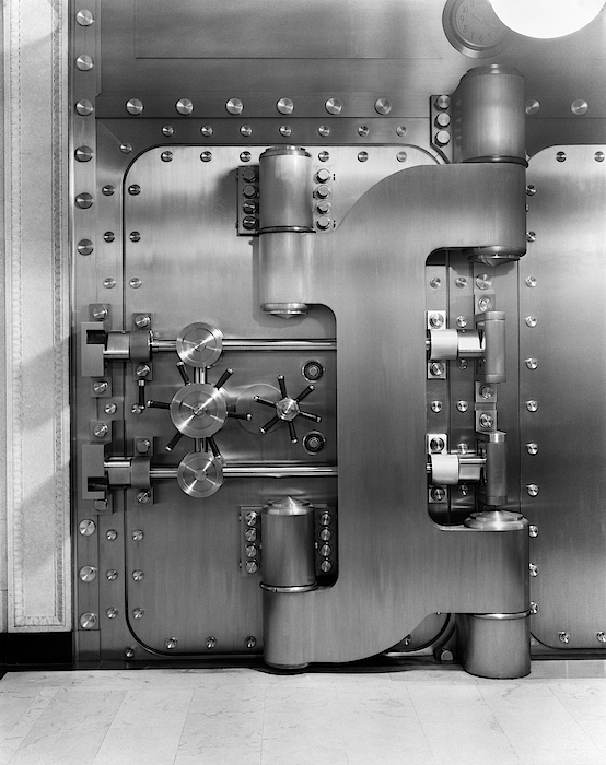 Vertical Photograph - 1930s Closed Bank Vault Door by Vintage Images & 1930s Closed Bank Vault Door Photograph by Vintage Images