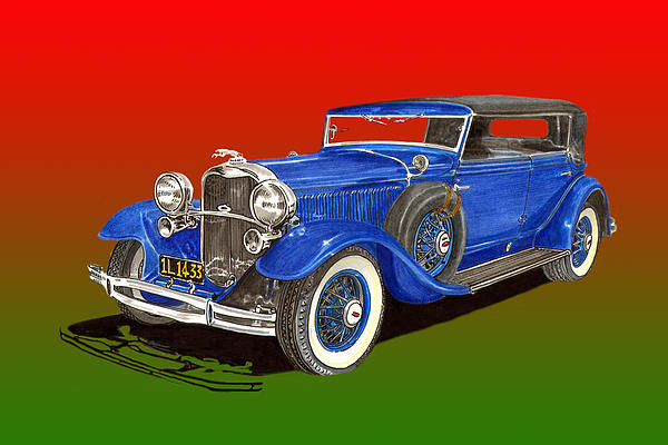 Acrylic Prints Painting - 1931 Lincoln K Four Door Convertible by Jack Pumphrey