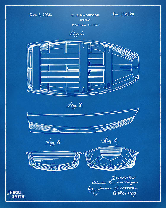 Rowboat Drawing - 1938 Rowboat Patent Artwork - Blueprint by Nikki Marie Smith