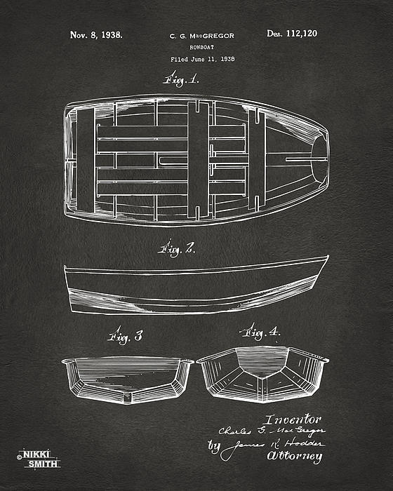 Rowboat Digital Art - 1938 Rowboat Patent Artwork - Gray by Nikki Marie Smith