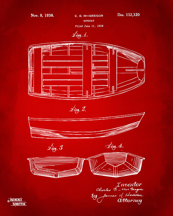 Rowboat Digital Art - 1938 Rowboat Patent Artwork - Red by Nikki Marie Smith