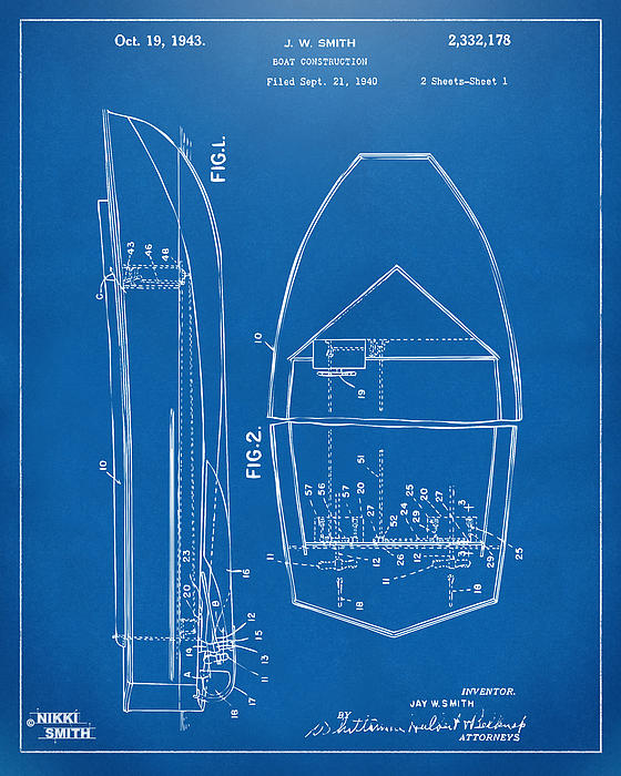 Chris Craft Drawing - 1943 Chris Craft Boat Patent Blueprint by Nikki Marie Smith