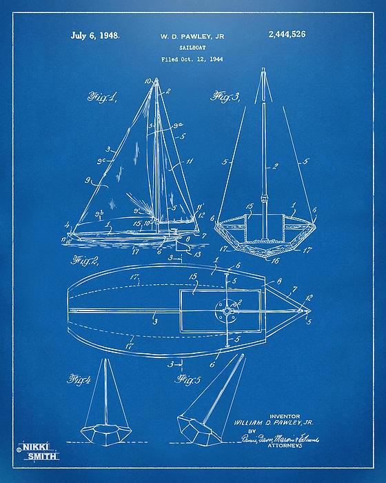 Sailboat Drawing - 1948 Sailboat Patent Artwork - Blueprint by Nikki Marie Smith