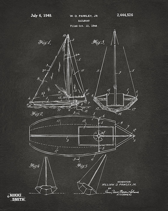 Rowboat Drawing - 1948 Sailboat Patent Artwork - Gray by Nikki Marie Smith