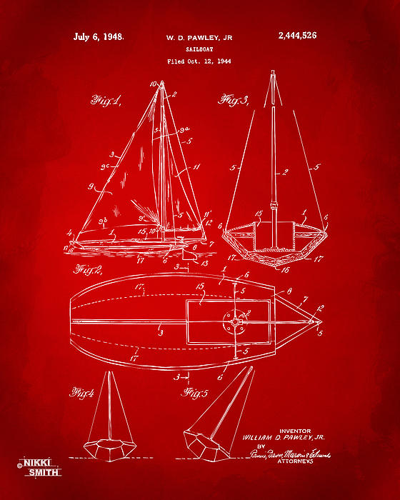 Rowboat Drawing - 1948 Sailboat Patent Artwork - Red by Nikki Marie Smith