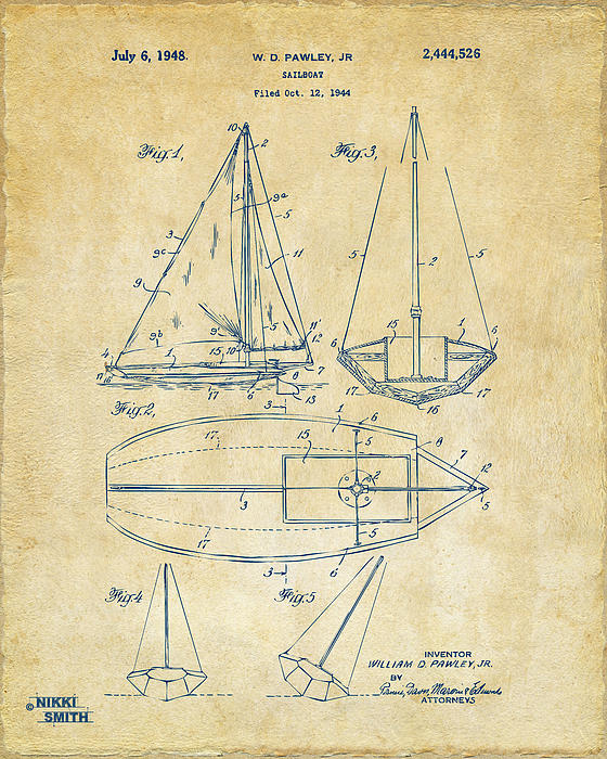 Rowboat Drawing - 1948 Sailboat Patent Artwork - Vintage by Nikki Marie Smith