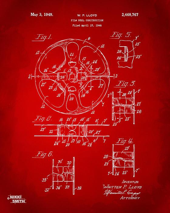 Movie Digital Art - 1949 Movie Film Reel Patent Artwork - Red by Nikki Marie Smith