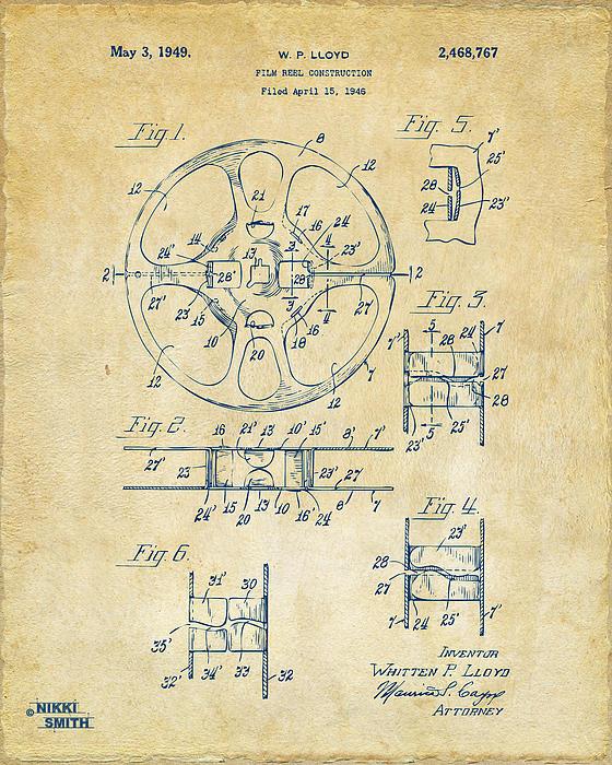 Movie Drawing - 1949 Movie Film Reel Patent Artwork - Vintage by Nikki Marie Smith