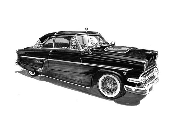 1954 Ford Skyliner Drawing by Jack Pumphrey