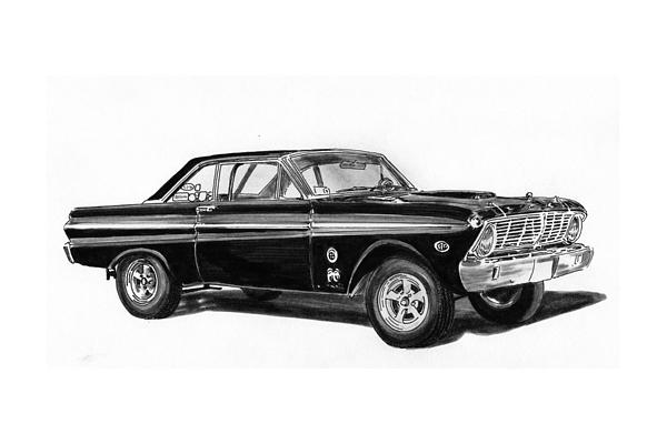 1965 Ford Falcon Street Rod Drawing by Jack Pumphrey