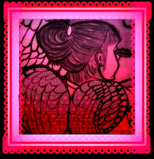 Valentines Day Greeting Card Painting - Angel Leah 2 by Maryann  DAmico