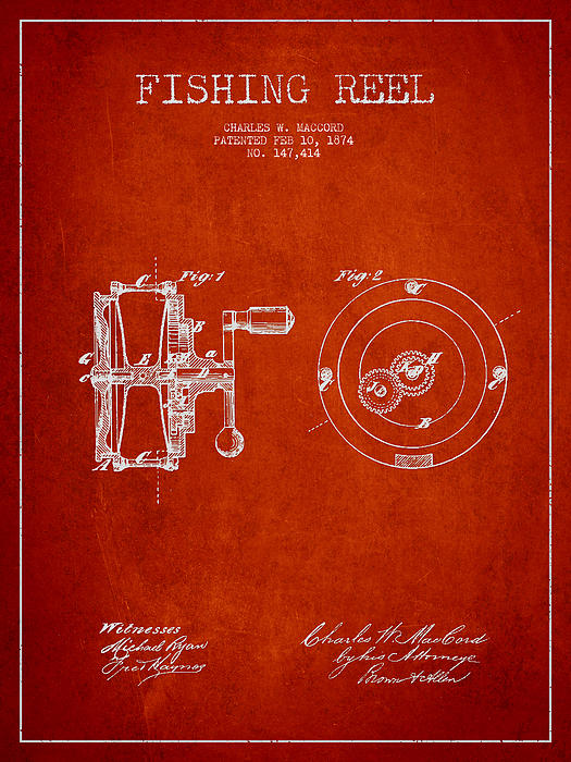 Fishing Reel Drawing - Fishing Reel Patent From 1874 by Aged Pixel