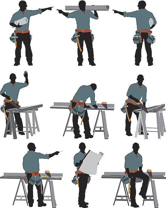 Multiple Images Of A Carpenter 2 Drawing by 4x6