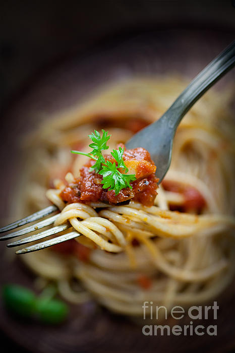 Background Photograph - Pasta With Tomato Sauce by Mythja  Photography
