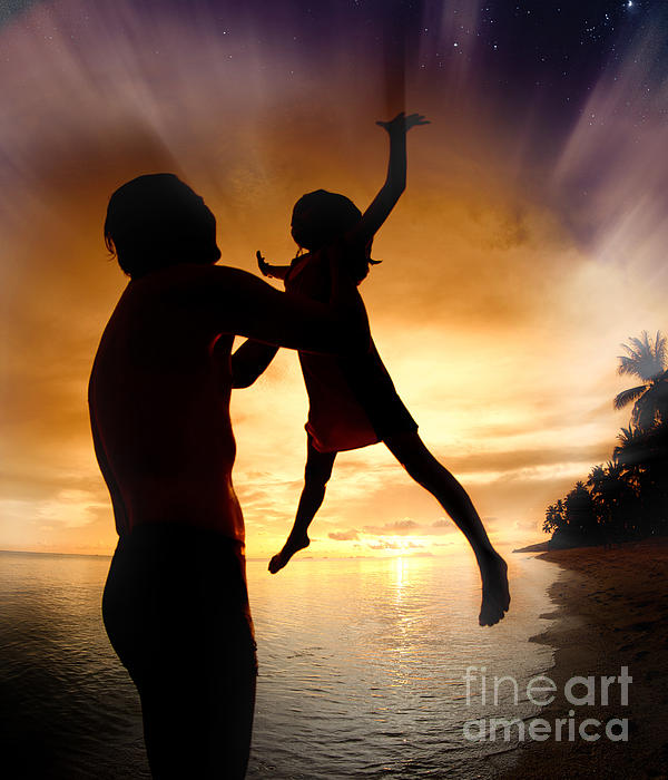 Active Photograph - Silhouette Family Of Child Hold On Father Hand by Anek Suwannaphoom