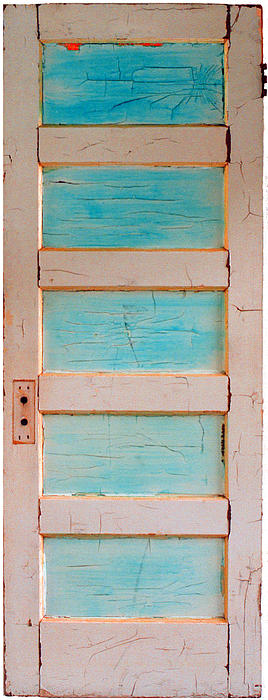 Turquoise Painting - Turquoise Doorway And Ladder To The Sky by Asha Carolyn Young