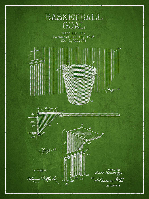 Hoop Patent Digital Art - Vintage Basketball Goal Patent From 1925 by Aged Pixel