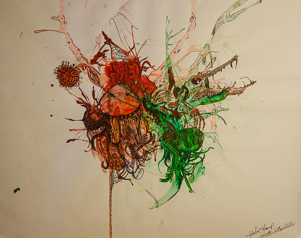 Surrealism Painting - Wet Dinosaurs by Nickolas Kossup