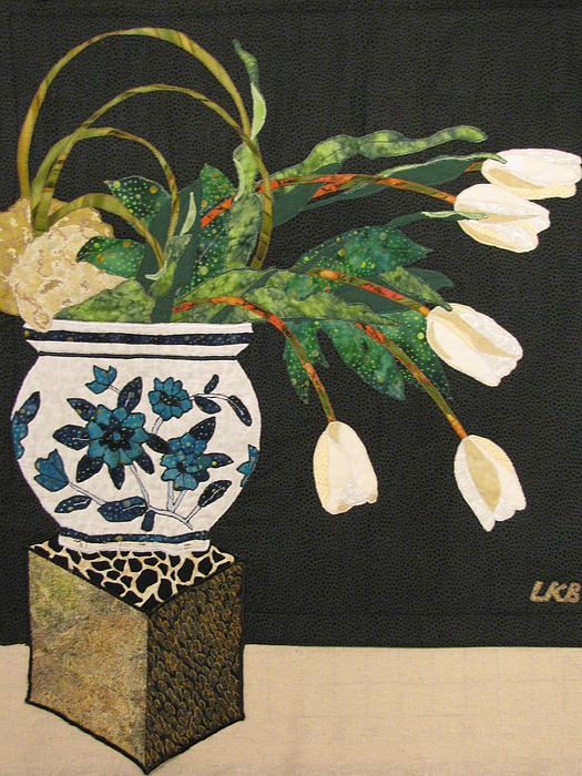 Mixed Media Tapestry - Textile - White Tulips by Lynda K Boardman