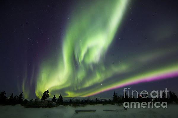 Horizontal Photograph - Aurora Borealis Over A Ranch by Joseph Bradley