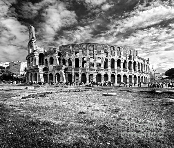 Column Photograph - The Majestic Coliseum - Rome by Luciano Mortula