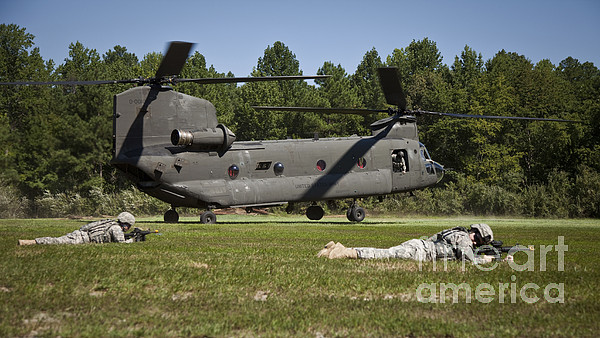 Air Assault Photograph - U.s. Soldiers Provide Security by Stocktrek Images