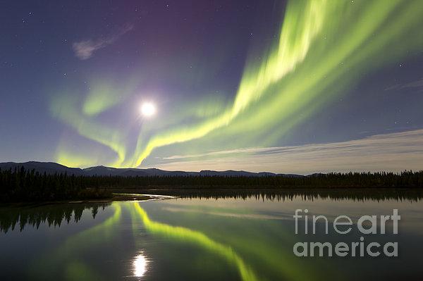 Horizontal Photograph - Aurora Borealis And Full Moon by Joseph Bradley