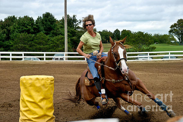 Action Photograph - Horse And Rider In Barrel Race by Amy Cicconi