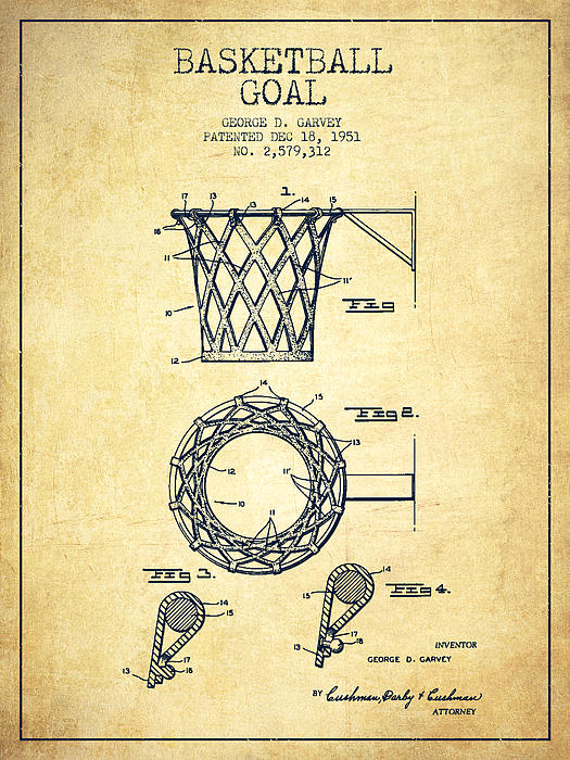 Basketball Hoops Drawing - Vintage Basketball Goal Patent From 1951 by Aged Pixel