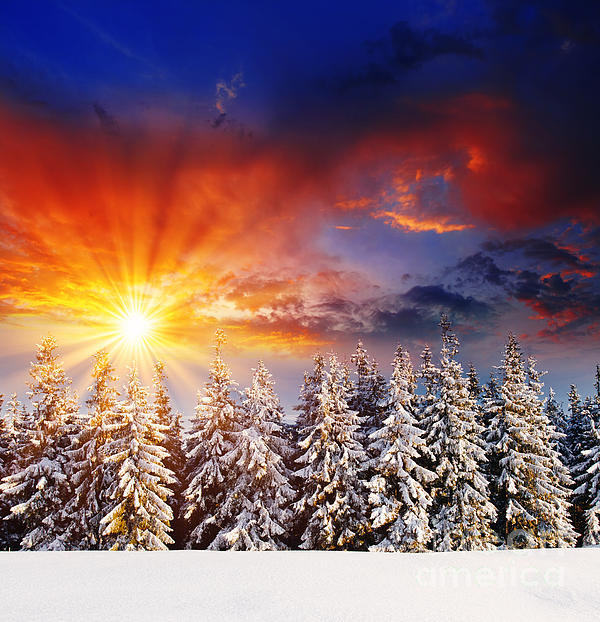 Abstract Photograph - A Beautiful Sunset In The Winter by Boon Mee