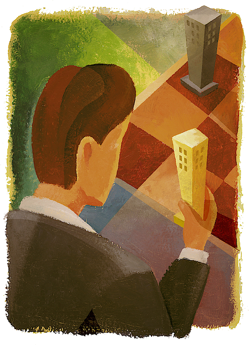 A Businessman Moving Miniature Buildings On A Checkered Board Drawing by Spark Studio