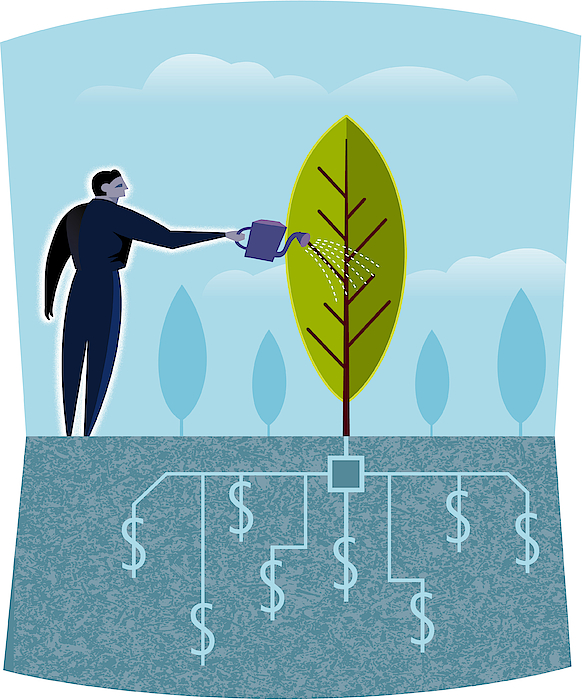 A Businessman Watering A Tree Drawing by Spark Studio