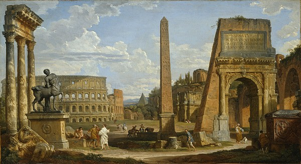 Rome Painting - A Capriccio View Of Roman Ruins, 1737 by Giovanni Paolo Pannini or Panini