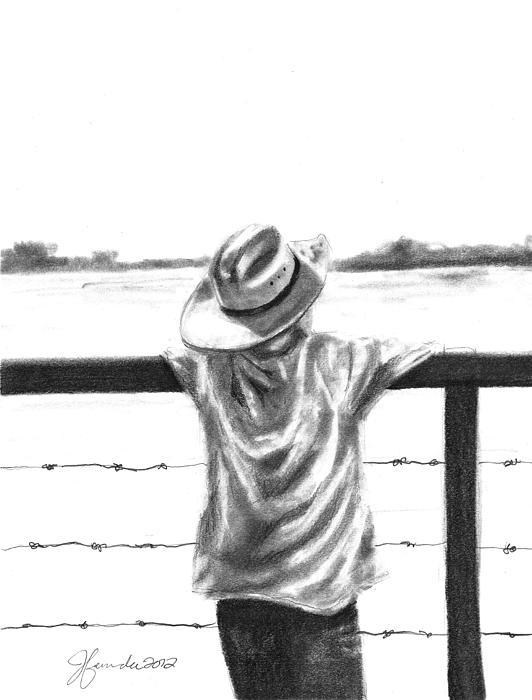 Child Drawing - A Child On A Farm by J Ferwerda
