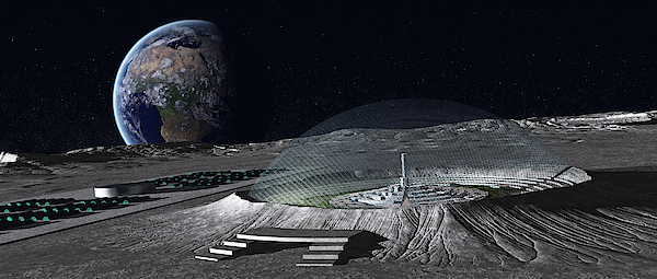 A Domed Crater Is Home To A Lunar City. Earth Rises In The Background. Drawing by Frieso Hoevelkamp/Stocktrek Images