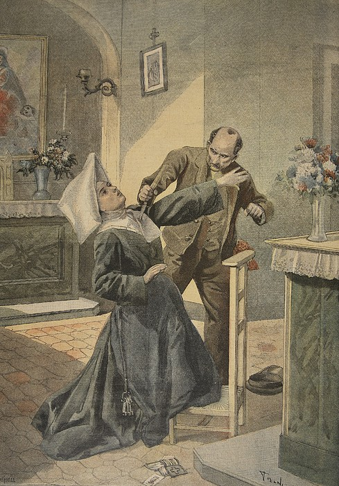 Female Drawing - A Drama In An Asylum Assassination by French School