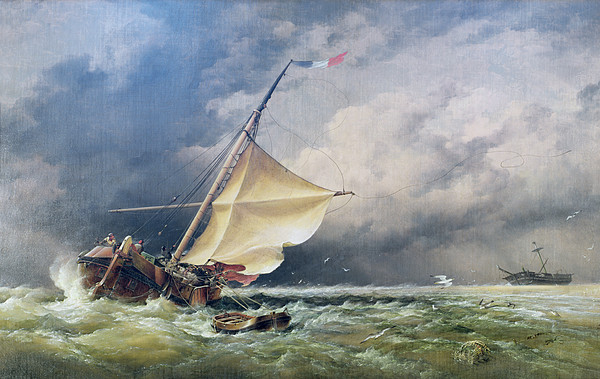 Shipping Painting - A Dutch Beurtman Aground by Edward William Cooke
