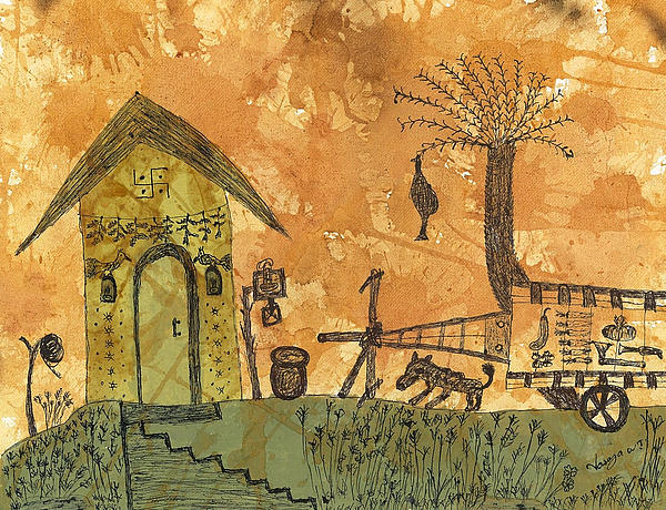 Rural Painting - A Farm In India With Hut And Bull Cart by Nikunj Vasoya