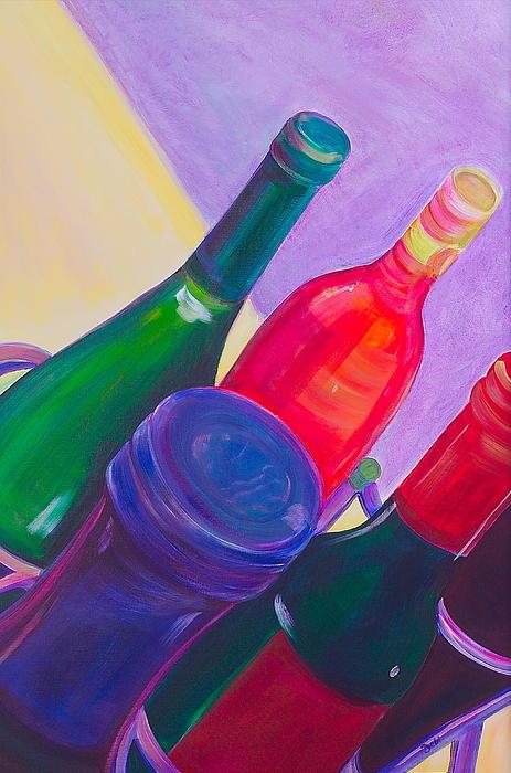 Wine Painting - A Full Rack by Debi Starr