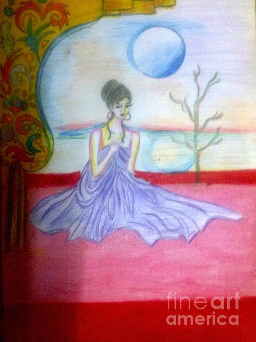 A Girl In Dream Night Drawing by Syeda Ishrat
