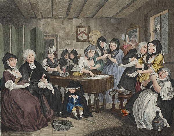 The Funeral Drawing - A Harlots Progress, Plate Vi by William Hogarth