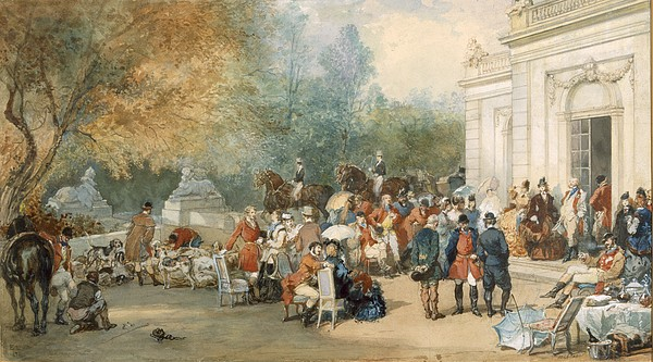 Hunting Drawing - A Hunting Breakfast In England, 1870 by Eugene-Louis Lami