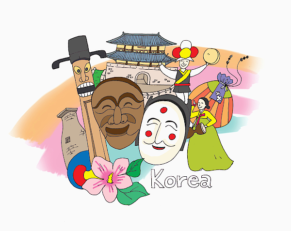 A Illustration Of South Korea Drawing by TongRo Images Inc