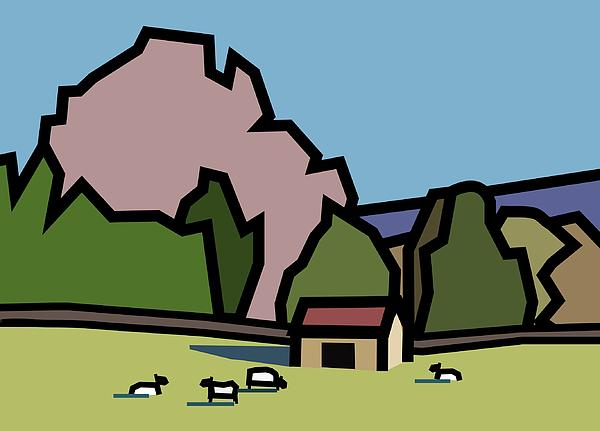 Countryside Painting - A Lazee Sunny Afternoon. by Kenneth North