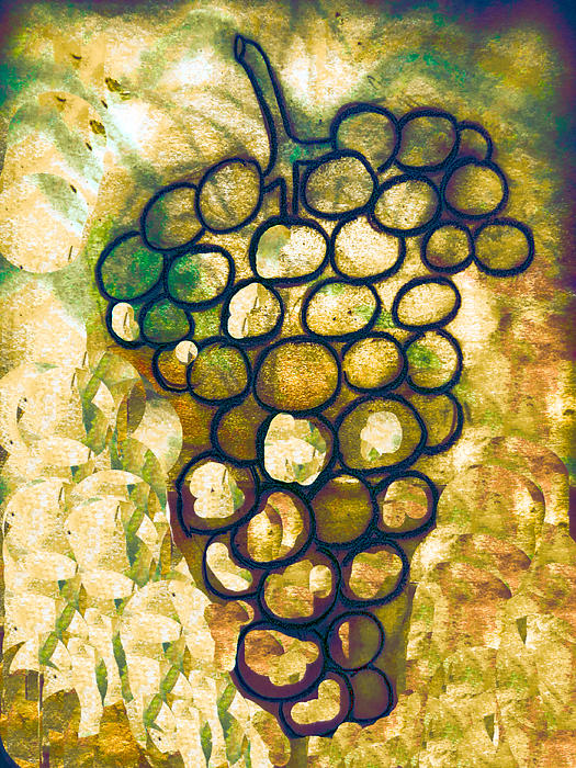 Vine Drawing - A Little Bit Abstract Grapes by Jo Ann
