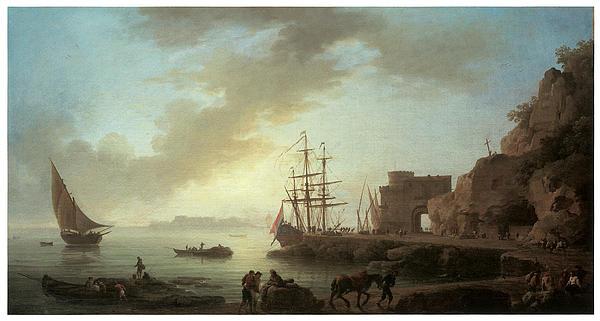 Claude-joseph Vernet Painting - A Mediterranean Port At Dawn by Claude-Joesph Vernet