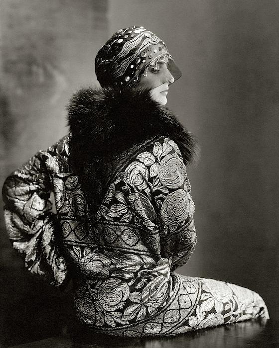 A Model Wearing A Headdress And Brocade Coat Photograph by Edward Steichen