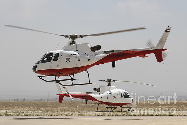 Military Photograph - A Pair Of As350 Squirrel Helicopters by Ofer Zidon