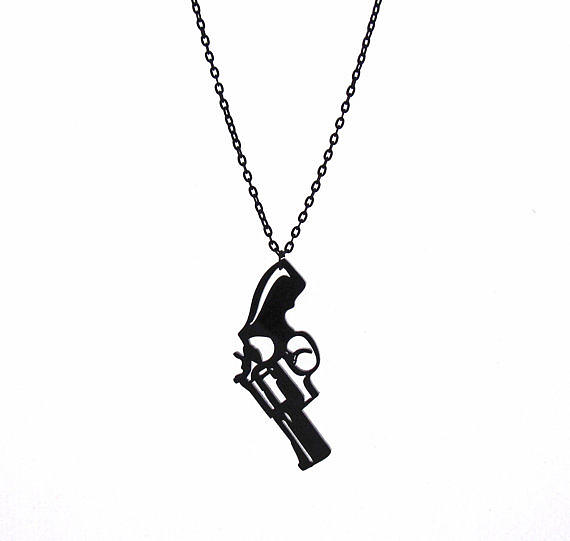 Jewelry Jewelry - a Pistol Pendant With Long Chain by Rony Bank